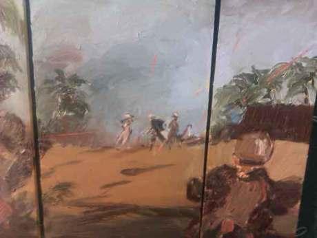 Douglas Farthing artist of war paintings, acrylic painting of fighting scenes in Afghanistan,