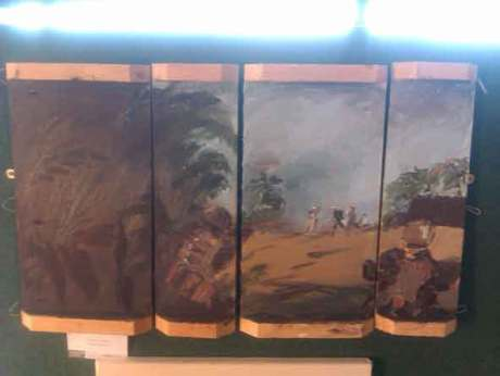 Ammo box painting of war against the Taliban painted by Douglas Farthing,four panel painting using acrylic paint,