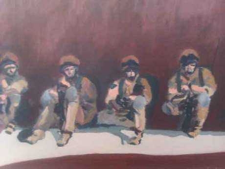 Art by the artist Sergeant Douglas Farthing, war art from Afghanistan,paintings of soldiers sitting against a compound wall,