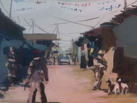 Douglas Farthing war artist drawing and painting local scenes in Afghanistan, his paintings are acrylic on paper, board and wood,