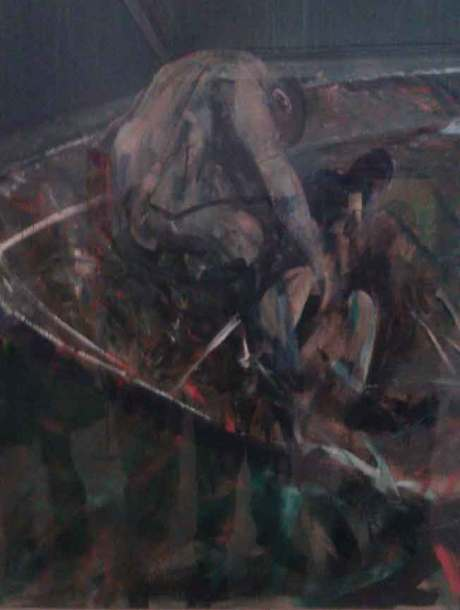 Figures in a Landscape by Francis Bacon, Francis Bacon artist exhibiting at the Birmingham Museum and Art gallery,this Francis Bacon painting is similar to the screaming pope,