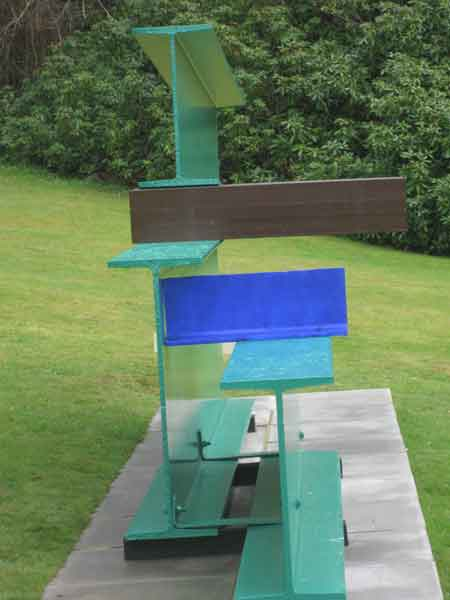 painted metal sculpture by Sir Anthony Caro, sculpture in the grounds of Chatsworth house,