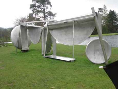 Anthony Caro Double Tent is a modern piece of sculpture to be found in a landscape setting,Anthony Caro leads the way in British contemporary sculpture,