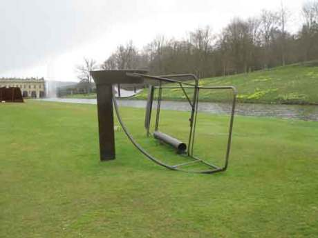 Emma gate is the title of this sculpture by Sir Anthony Caro at Chatsworth house,modern and contemporary sculpture made from steel,some sculptures are painted and others allowed to rust,