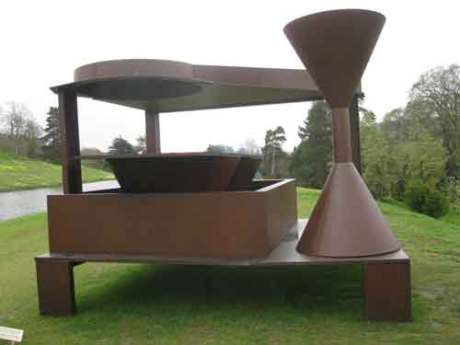 """Forum"" by Double flats by Sir Anthony Caro, a British sculpture and artist trained at the Royal Academy,"