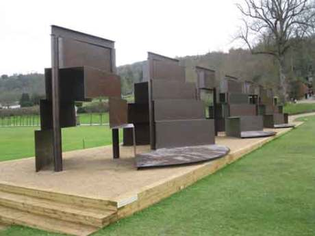 "Sir Anthony Caro   ""Goodwood Steps"" 1994-1996 forms the finale of sculptures at Chatsworth house 2012,"