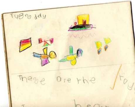 Gregory is a modern artist, this is an example of his earliest art aged 5,