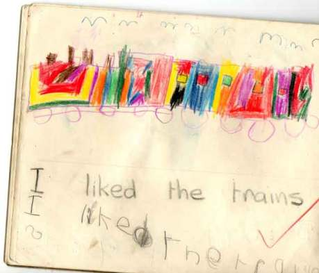 Early childhood drawings by contemporary artist Gregory, Gregory draws a train in coloured pencils,these form part of his earliest drawing experiences,
