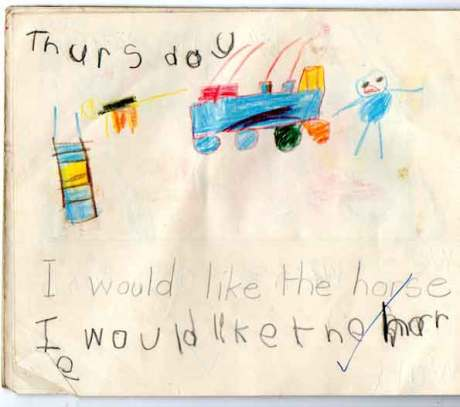 An early childhood drawing by the artist Gregory,pencil art at the age of 5,