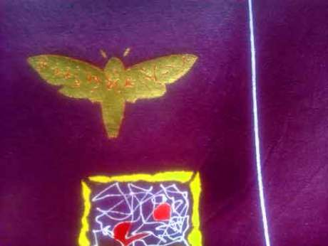 "The title of this painting by Gregory is ""Death's head hawk moth with musilanguage"" artist Gregory is on Face Book look for Molecules of Emotion,"