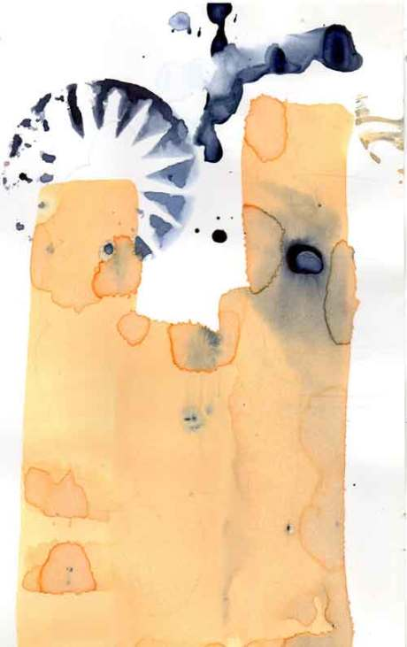 ink drawing with print and brush work by the artist Gregory which is part of his molecules of emotion, black ink print with yellow ink brushed on with ox tail brush, ink a