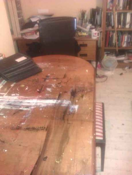 My art studio looking towards the artist's desk, Gregory prefers to paint on a table rather than an easel,