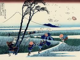 A sudden gust of wind by the japanese artist Hokusai