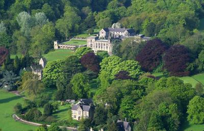 Ilam Hall and park Derbyshire near the river dove and thorpe cloud,