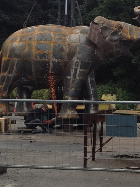Sculptor Brian Fell's elephant at Yorkshire Sculpture Park