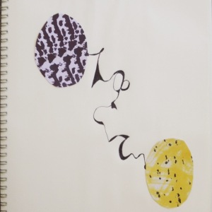 artist Gregory's collage of two ovals and ink drawing